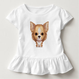 Camiseta De Bebé Chihuahua beige y blanca de pelo largo