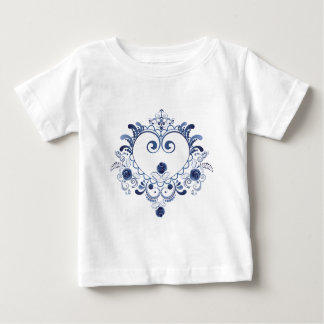 Camiseta De Bebé Corazón floral azul