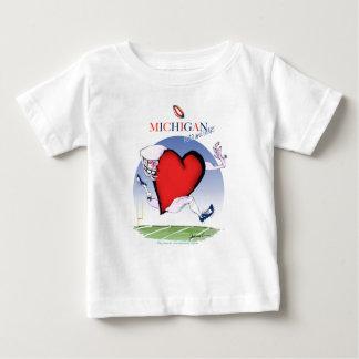 Camiseta De Bebé corazón principal de Michigan, fernandes tony