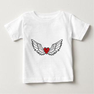 Camiseta De Bebé Corazón rojo con las alas