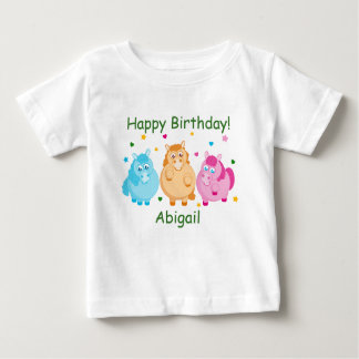 Camiseta De Bebé Dibujo animado lindo de pequeños potros coloridos,