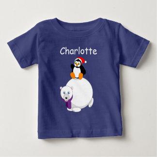 Camiseta De Bebé Dibujo animado moderno de un pingüino que monta un