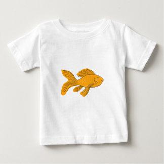 Camiseta De Bebé Dibujo de la natación de Koi de la mariposa del