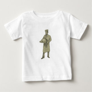 Camiseta De Bebé Dibujo del disco de la comida de la porción del