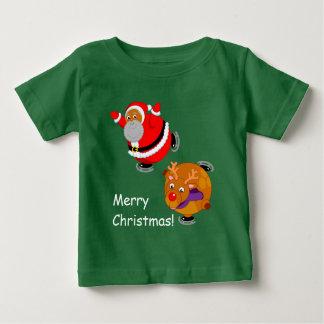 Camiseta De Bebé Diversión patinaje de hielo negro de Papá Noel y