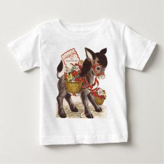 Camiseta De Bebé El día de San Valentín dulce retro del burro del
