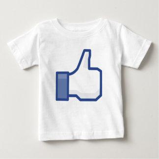 Camiseta De Bebé El pulgar encima del facebook TIENE GUSTO de la
