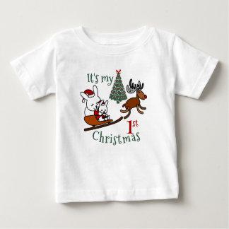 Camiseta De Bebé Es mi primer ratón de Santa del navidad