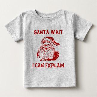 Camiseta De Bebé Espera de Santa puedo explicar navidad divertido