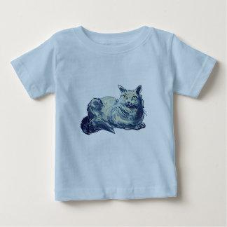 Camiseta De Bebé estilo británico del dibujo animado del gatito del