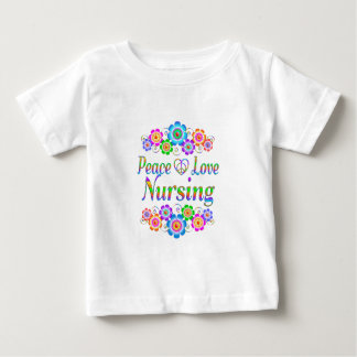 Camiseta De Bebé Flores del oficio de enfermera del amor de la paz