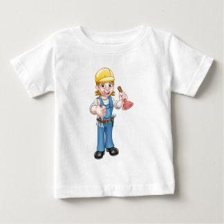 Camiseta De Bebé Fontanero de sexo femenino del dibujo animado que