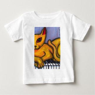 Camiseta De Bebé Gato amarillo en piano