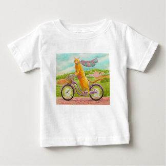 Camiseta De Bebé Gato anaranjado en una bicicleta púrpura