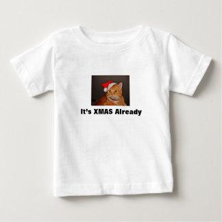 Camiseta De Bebé gato de Navidad