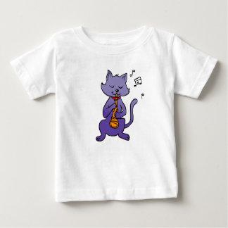 Camiseta De Bebé Gato del dibujo animado que toca la flauta