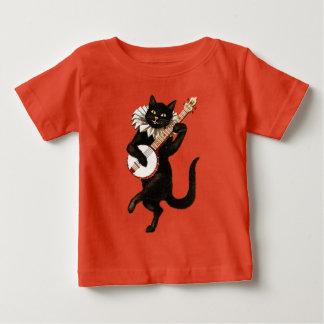 Camiseta De Bebé Gato negro que toca el banjo