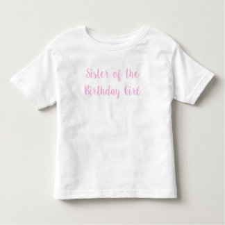 Camiseta De Bebé Hermana del fiesta cursivo del rosa del chica del