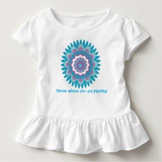 Camiseta De Bebé Impresión de la dalia de la turquesa de los chicas