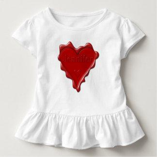 Camiseta De Bebé Jennifer. Sello rojo de la cera del corazón con