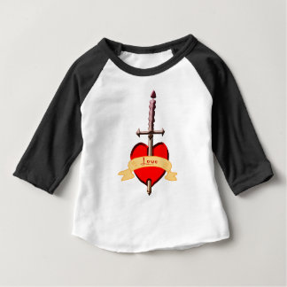 Camiseta De Bebé la daga del amor perforó el corazón