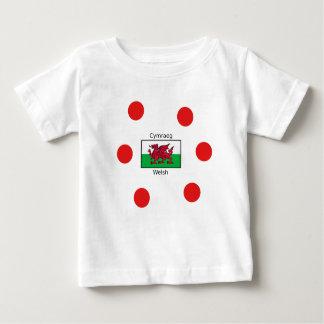 Camiseta De Bebé Lengua Galés y diseño de la bandera de País de
