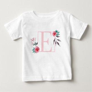 Camiseta De Bebé Letra floral E - nombre inicial de la acuarela de