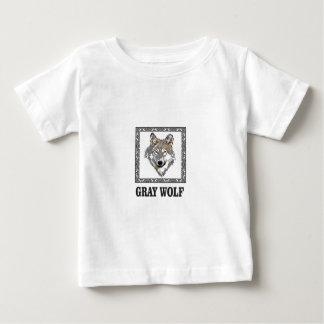 Camiseta De Bebé lobo gris enmarcado