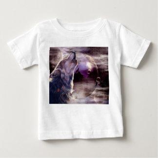 Camiseta De Bebé Lobo que grita en la luna