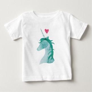 Camiseta De Bebé Magia azul del unicornio con el corazón