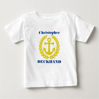 Camiseta De Bebé Marinero con nombre del barco y adorno del ancla