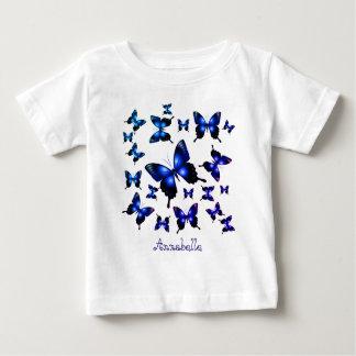 Camiseta De Bebé Mariposas caprichosas elegantes del azul real