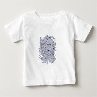 Camiseta De Bebé Máscara de Hannya y dibujo de los pescados de Koi