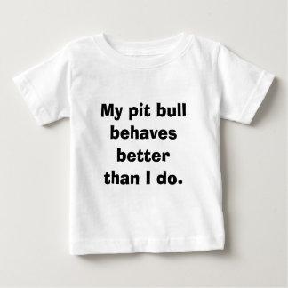 Camiseta De Bebé Mi pitbull se comporta mejor que la mayoría de los