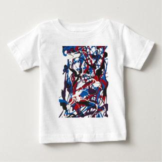 Camiseta De Bebé Modelo abstracto azul, rojo, negro, blanco.