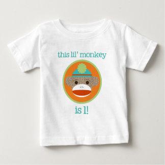 Camiseta De Bebé Mono brillante del calcetín: Primer cumpleaños