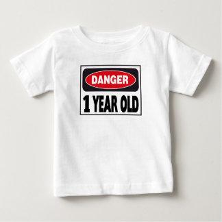 Camiseta De Bebé Muestra de 1 año del peligro