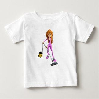 Camiseta De Bebé Mujer del dibujo animado que usa un vacío