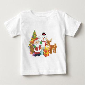 Camiseta De Bebé Muñeco de nieve del reno de Santa del árbol de