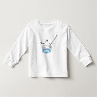 Camiseta De Bebé Muñeco de nieve en un cuenco con una cuchara