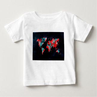 Camiseta De Bebé negro rojo del mapa del mundo