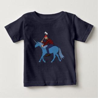 Camiseta De Bebé Paul Bunyan que monta unicornio azul