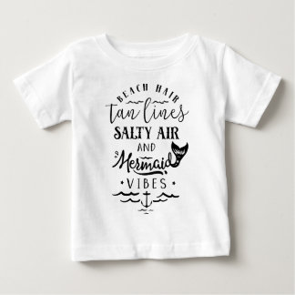 Camiseta De Bebé Pelo de la playa, líneas del moreno, aire salado,