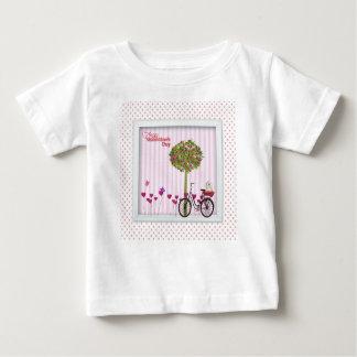 Camiseta De Bebé Pequeño perro, cesta, bicicleta, árbol de la flor
