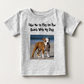 Camiseta De Bebé Perro Editable en la playa