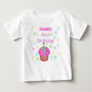12aa04d26 Camiseta De Bebé Primer cumpleaños de la magdalena rosada