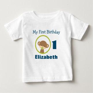 Camiseta De Bebé Primer mono del safari del bebé del cumpleaños con