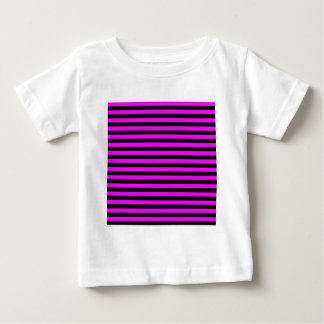 Camiseta De Bebé Rayas finas - negro y fucsia
