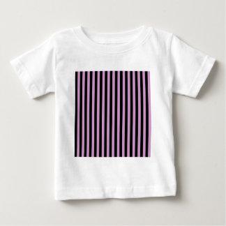 Camiseta De Bebé Rayas finas - orquídea del medio del negro y de la