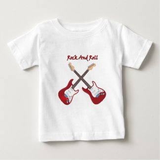 Camiseta De Bebé Rock-and-roll con dos guitarras eléctricas rojas